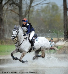 "Liz Halliday-Sharp and HHS Cooley galloped through the water at the Carolina International CIC***. Sadly ""Cooley"" was euthanized later in the year after a fall on cross-country in England."