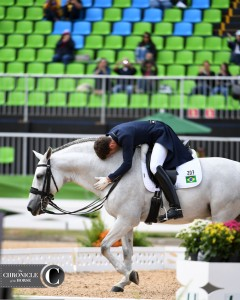 Brazilian Joao Victor Marcari Oliva gave his horse some love at the Olympics.