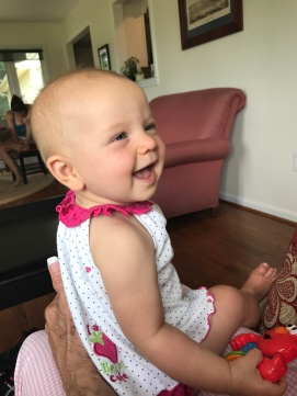 My niece Charlotte smiling.