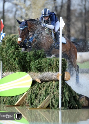 Cambalda splashed through the brush jump at the Carolina International with Jennie Brannigan.